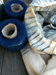 100% organic hand woven cotton shawl/scarf: Freestyle Ikat indigo blue No.2. $42.00, via Etsy.