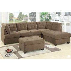Poundex 2 Pc Truffle Waffle Suede Fabric Upholstered Reversible Sectional Sofa With Chaise Lounger
