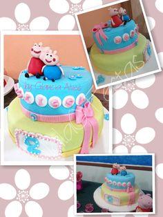 Bolo Peppa Pig Colorido e diferente este bolo ficou um arraso!!! www.facebook.com/iaiaofestas