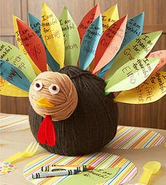 Could do something like this with our thankful leaves and turn them into feathers? hmmm, so many options!
