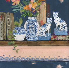 Very chinoiserie! Vases by Rachel Grant. Antique Illustration, Illustration Art, Rachel Grant, Mixed Media Painting, Brown Paper, Chinoiserie, Watercolor Paper, Collage Art, Original Paintings