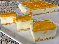 Prajitura cu iaurt si fructe Spanish Desserts, No Cook Desserts, Romanian Desserts, Czech Recipes, Healthy Deserts, Sweet Cakes, Desert Recipes, No Bake Cake, Cake