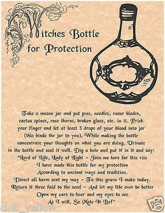 WITCHES BOTTLE FOR PROTECTION Book of Shadows Page BOS Pages Real Witchcraft