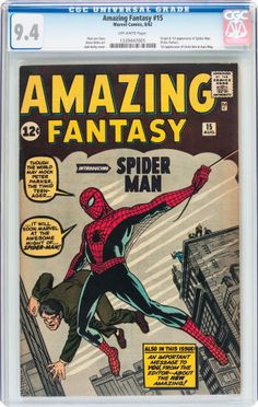 Silver Age (1956-1969):Superhero, Amazing Fantasy #15 (Marvel, 1962) CGC NM 9.4 Off-white pages....