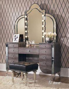 Aico Amini Hollywood Swank Amazing Gator Vanity Set W Mirror Minus The  Animal Print