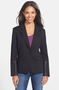 Christopher Blue 'Toni'  Faux Leather Trim Ponte Blazer available at #Nordstrom