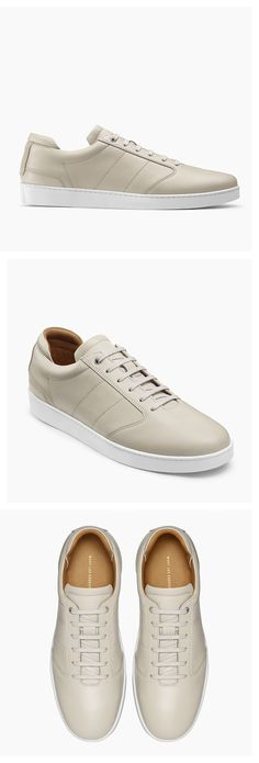 A/W 16 Lennon sneaker in Parchement.  Minimalist men shoes | Minimalist footwear | Minimalist shoes | Capsule wardrobe | Cream sneakers | Slow fashion | Simple style