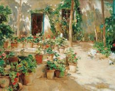 Through his friendship with Santiago Rusiñol, Meifrèn developed a taste for painting gardens and courtyards that was to last throughout his career as an ar. Plant Painting, Garden Painting, Garden Art, Spanish Painters, Spanish Artists, Malaga, Jig Saw, Famous Art Paintings, Amazing Paintings