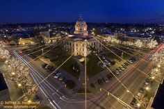 The square downtown Bloomington Indiana. My hometown. Vallejo California, Sioux Falls South Dakota, Bloomington Indiana, Indiana University, Chicago, Paris Skyline, Places To Go, Holiday Lights, Christmas Lights