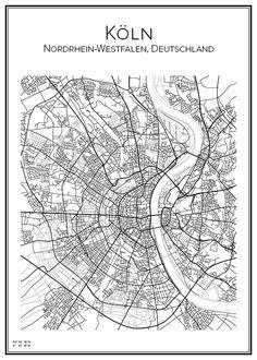 Handritad affisch över Köln i Tyskland. Här kan du beställa stadskarta över din stad och andra svenska samt utländska städer.