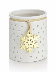 Snowflake Ceramic Tealight Holder - Marks & Spencer