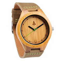 This wooden Tree Hut watch has genuine brown leather bands and is handmade in San Francisco from real wood with a green minute hand.