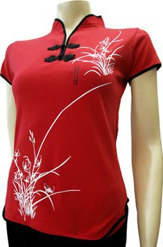 SHANGHAI SUMMER - RED: It sizzles in Shanghai in summer like this sexy qi pao jersey. Beautifully constructed soft stretch Chinese red women's top.