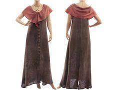 Boho linen maxi dress in brown linen maxi tank von classydress