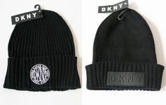 482d0c710ef446 DKNY Donna Karan 90s Style Logo GRUNGE Ribbed Knit Black BEANIE WINTER HAT  NWT | eBay