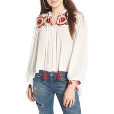 Women's Raga Isadora Embroidered Blouse (1.119.470 IDR) ❤ liked on Polyvore featuring tops, blouses, eggshell, boho peasant blouse, gauze blouses, draped blouse, peasant tops and white peasant blouse