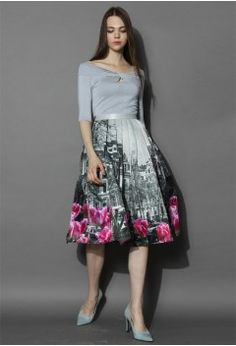 Tulip Town Contrast Print Pleated Midi Skirt - Bottoms - Retro, Indie and Unique Fashion