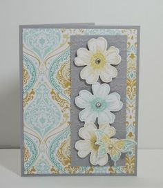 Robbie's beautiful card uses Flower Shop & its matching punch, Best of Butterflies, Eastern Elegance dsp, Elegant Butterfly punch, and Pretty Print embossing folder.