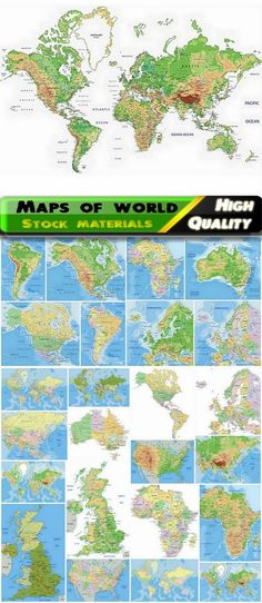 Detailed maps of world and countries with continents - 25 Eps
