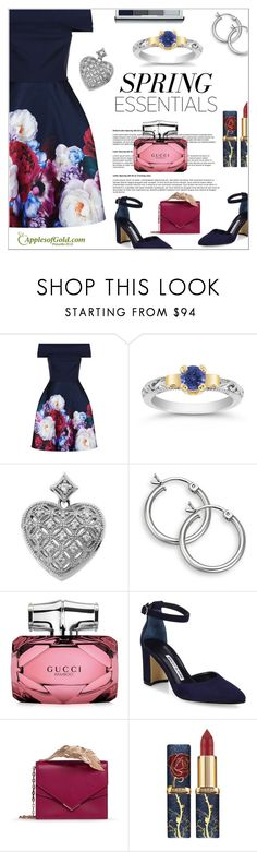 """In Bloom: Floral"" by applesofgoldjewelry ❤ liked on Polyvore featuring Ted Baker, Gucci, Manolo Blahnik, RALPH & RUSSO and Clinique"