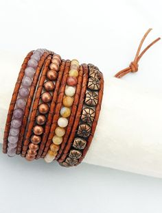 Lilac Stone, Morocco Agate, Copper Beads Brown Leather Wrap Bracelet with sun pattern beads