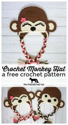 Free Crochet Monkey Hat Pattern - The Friendly Red Fox. In toddler, child, and teen/adult size! Free Crochet Monkey Hat Pattern - The Friendly Red Fox. In toddler, child, and teen/adult size! Crochet Monkey Hat, Crochet Animal Hats, Crochet Beanie Pattern, Crochet Kids Hats, Crochet Gifts, Free Crochet, Crochet Patterns, Crocheted Hats, Crochet Toddler Hat