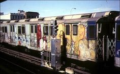 """Voted """"Worst Cars"""" in this train of graffiti-scarred rests at Rockaway Park Yard, September Photo by Bernard Chatreau. Rockaway Park, Far Rockaway, New York Subway, Nyc Subway, New York Graffiti, Street Art Graffiti, Graffiti Photography, Metro Subway, S Bahn"""