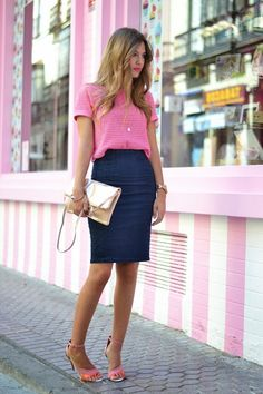 @roressclothes closet ideas #women fashion outfit #clothing style apparel  Pink T-Shirt and Denim Skirt