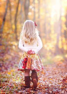 little girl, autumn in the forest