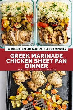 Greek Chicken Marinade sheet pan dinner is the perfect healthy recipe. This simple one pan meal uses chicken thighs, greek marinade and veggies to make dinner in under 30 minutes! Low carb, keto, and paleo, this recipe is perfect for lunch or dinne Whole30 Dinner Recipes, Gluten Free Recipes For Dinner, Whole 30 Recipes, Lunch Recipes, Healthy Dinner Recipes, Paleo Recipes, Fodmap Recipes, Chicken Marinades, Chicken Recipes