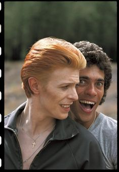 1975 - David Bowie and Geoff MacCormack in The Man Who Fell To Earth film (backstage photo) 70s.