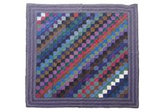 love the colors - Rare Amish One-Patch Wool Quilt