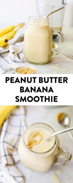 An ultra-thick and creamy smoothie, this classic peanut butter banana smoothie tastes just like a milkshake, but packed full of nutrition! Made with just 4 simple ingredients that you almost definitely have on hand! #bananapeanutbuttersmoothie #peanutbuttersmoothie #pbsmoothie #smoothie #healthysmoothie #vegan #glutenfree