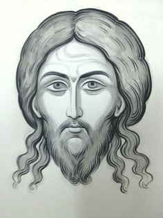 Icon of Christ not made by human hands (The Holy Mandylion). Jesus Christ Drawing, Jesus Drawings, Jesus Art, Pencil Drawings, Religious Icons, Religious Art, Cross Drawing, Paint Icon, Art Terms