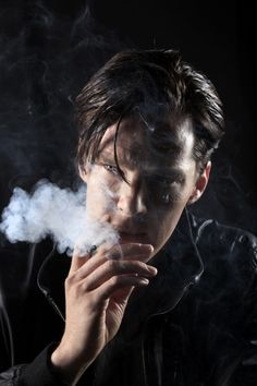 """Benedict Cumberbatch lights it up"" for the L.A. Times, May 9, 2012. (Photo by Rick Loomis.)"