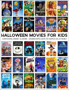 Halloween Movies for Kids – a whole list of fun movies to enjoy during the holidays. Great ideas for a family movie night! Halloween Movies To Watch, Halloween Movie Night, Halloween Snacks, Halloween 2020, Holidays Halloween, Halloween Crafts, Halloween Decorations, Halloween Party, Halloween Costumes