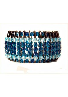 'lark' gunmetal safety pin cuff w/capri blue & aquamarine czech glass beads $55 #76hudson Need to experiment with making this