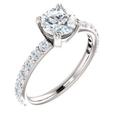 18K White 6.5mm Round Engagement Ring Mounting