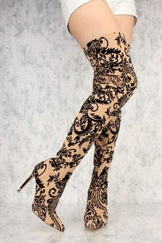 Nude Elegant Vines Print Thigh High Heel Boots Faux Velvet