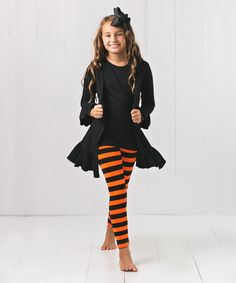 Another great find on #zulily! Orange & Black Stripe Pants Set - Infant, Toddler & Girls #zulilyfinds