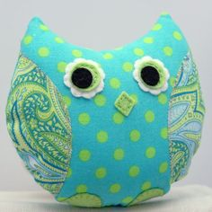 Stuffed  Owl  Plush Retromama Design Softie by sewfaithful on Etsy, $16.00