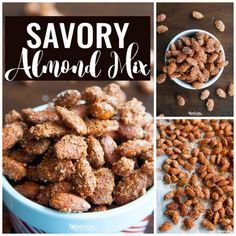 This recipe for savory almond mix is the perfect blend of sweet, salty and spicy. I can't stop eating them! Spiced nuts are a favorite snack of mine. Pellet Grill Recipes, Grilling Recipes, Dog Food Recipes, Snack Recipes, Spicy Almonds, Roasted Pecans, Cant Stop Eating, Spiced Nuts, Appetizer Recipes