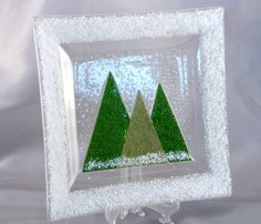 Green Christmas Trees And Snow Fused Glass by ScarletRidgeGlass