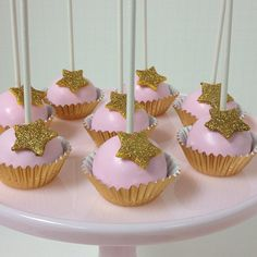 Pretty pink #cakepops with #goldglitter stars #glamourous #customcakepops #pinkcakestand | Flickr - Photo Sharing!