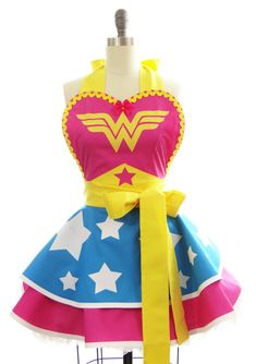 Retro Womans Kitchen Apron  Wonder Woman Superhero by bambinoamore