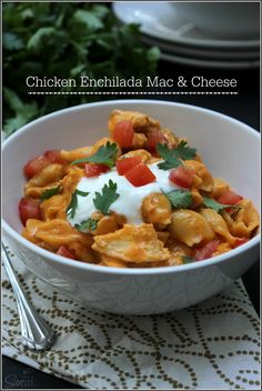 Creamy Chicken Enchilada Mac & Cheese.  Comfort food heaven in less than an hour.