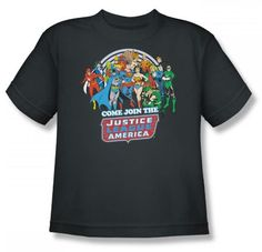 Amazon.com: The Justice League Join The Justice League Youth S/S T-shirt in Charcoal by DC Comics: Clothing