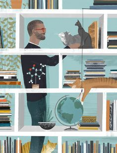 "Sam Kalda ^ From his book ""Of Cats and Men"" (2017): http://www.penguinrandomhouse.com/books/539156/of-cats-and-men-by-sam-kalda/9780399578441/  More illustrations by Sam: http://www.folioart.co.uk/illustration/folio/artists/illustrator/sam-kalda  https://twitter.com/sam_kalda"