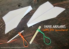 Relentlessly Fun, Deceptively Educational: How to Make a Paper Airplane AND a Launcher - Fun experiments for kids - origami Airplane Activities, School Age Activities, Airplane Crafts, Airplane Party, Stem Activities, Stem Projects, Projects For Kids, Crafts For Kids, Fun Experiments For Kids