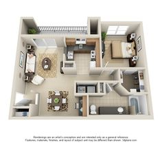 Our one bedroom, one bathroom floor plan. This layout features a built-in desk in the dining area! Apartment Furniture Layout, Living Room Furniture Layout, Apartment Layout, Apartment Design, 3d House Plans, Small House Plans, Small Space Interior Design, Interior Design Living Room, Sims House Design